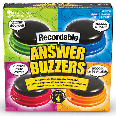 Recordable Answer Quiz Buzzers Set of 4 - Game Show Record Your Own Sound Buzzer