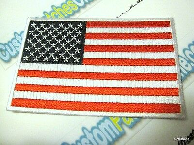"""USA American Flag Embroidered Iron- On Patch (2) 2.25x3.5"""" Heat Cut Border"""