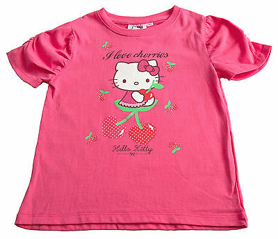 Girls Top T Shirt Top Pink Hello Kitty NEW Short Sleeved 4Y 5Y 6Y 7Y Cotton