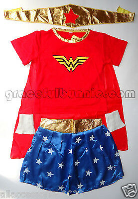 BNWT Girls Wonder Woman Costume Dress up Cosplay - 3-12yrs
