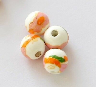 15Pcs Hand Painted Ceramics Porcelain Flower Beads Finding--Jewelry Beads--10mm