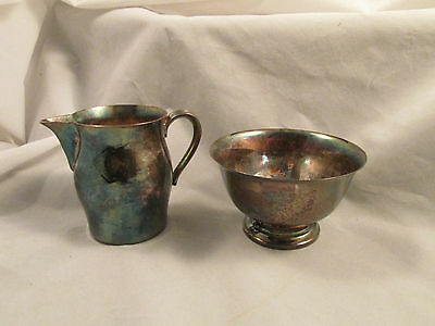 Marked Wm Rogers Silver Plated Pitcher,Pedestal Bowl,Paul Revere Reproduction