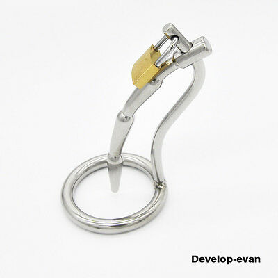 MALE New Stainless Steel Lock Chastity Urethral Dilators Domina A110