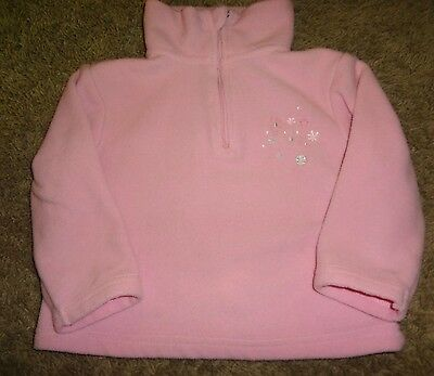 Girls Pink Fleece Pullover Sweater By Lupilu Zipper Embroidered Flowers Soft @@!