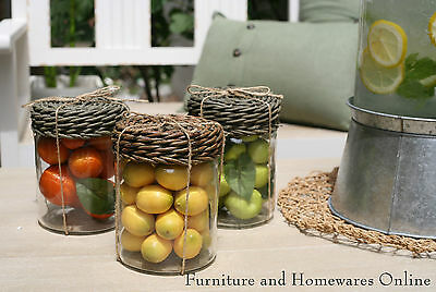 French Provincial Glass Jar with Faux Fruit Wicker Lid Home Decor Heavy Glass
