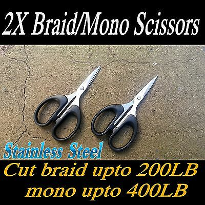2X Braid / Mono Fishing Line Cutters, Scissors, Stainless Steel 12cm OZ stock
