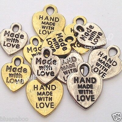 10x small metal charms  hand made with love gold/silver colour & mixed bags too