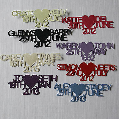 Names Table Confetti Personalised Names Date & Heart Wedding, Engagement ++