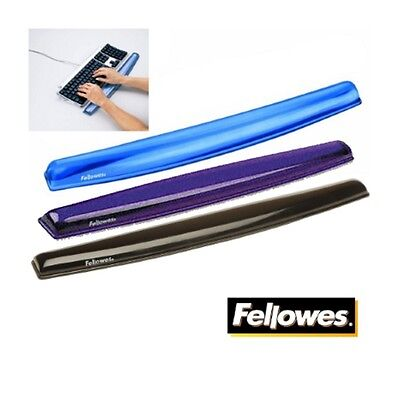 Fellowes Keyboard / Typing Wrist Rest Support Crystal Gel Black Or Blue