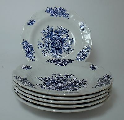BOOTHS china PEONY-BLUE Pattern #A8021 Saucer - set of six (6)
