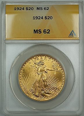 1924 $20 Dollar Liberty Gold Double Eagle ANACS MS-62 (Better Coin)