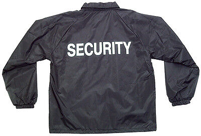 windbreaker security guard jacket with security silk screen in white