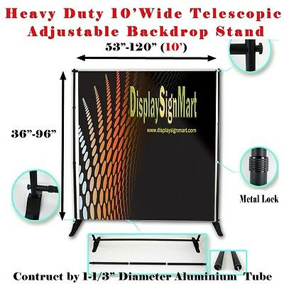 10' Heavy Duty Adjustable Step and Repeat Backdrop Trade Show Wall Banner Stand