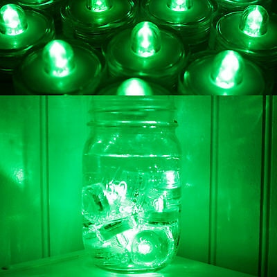 48 Pack Green Submersible Bright Battery Operated LED Tea Light Wedding