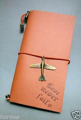 New Brown Retro Vintage Leather Cover Airplane Blank Journal Diary Note Book