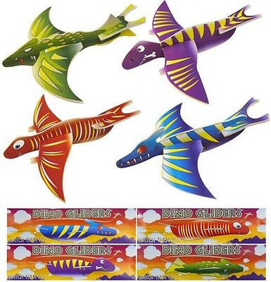 24x Dinosaur Flying Glider Plane Party Bag Fillers Childrens Toy Loot Bag Pinata
