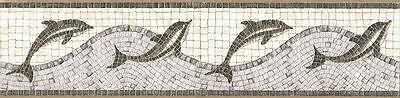 Dolphin Mosaic Tile Wave Wallpaper Border 49-068