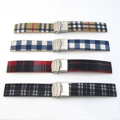 Watch Band Strap Silicone Rubber TARTAN FABRIC TOP Mens Ladies Deployment Clasp