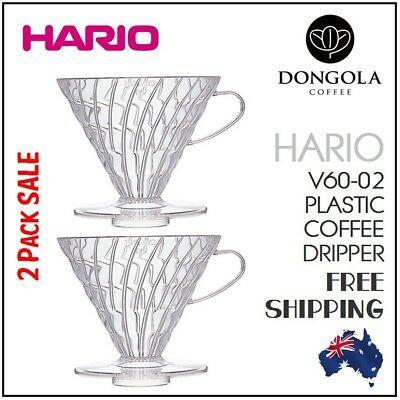 NEW 2PK HARIO V60-02 Cup Plastic Coffee Dripper Pour Over Cone Filter Brewer