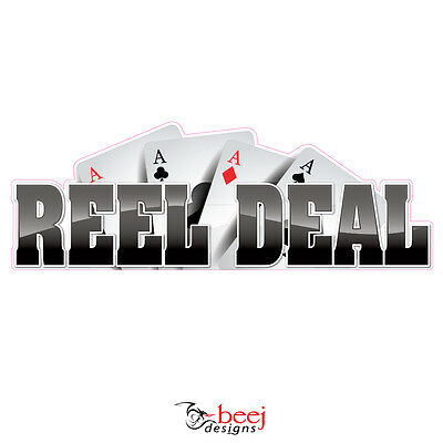 Reel Deal-300x105mm Sticker Boat Decal Fishing Rod Line Lure Seafood Tank Tackle