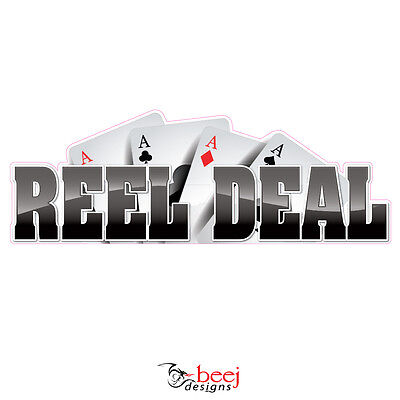 Reel Deal Black  500x175mm - Fishing Boat tackle Ace Cards decal