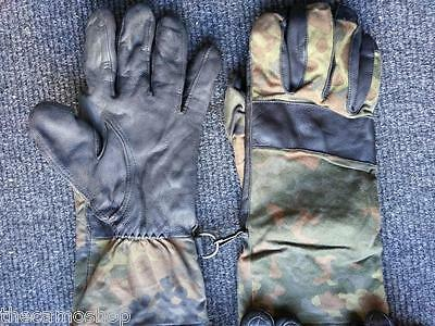 German Army BW issued Flecktarn leather combat gloves grade A and B