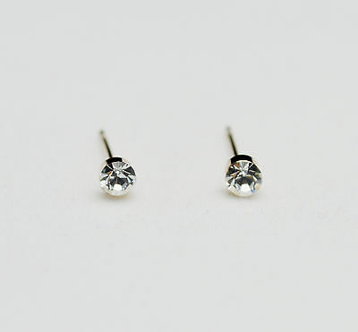 14K/14ct Rose Gold Plated Cute Small Clear Round Crystal Stud Earrings 4mm Gift