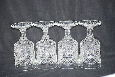 4 Anchor Hocking Wexford Crystal Claret Wine Glasses