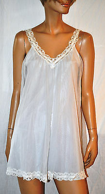Sottoveste Babydoll Donna Bianco Foderata-Pizzo Vintage Originale 60'-Tg S/M