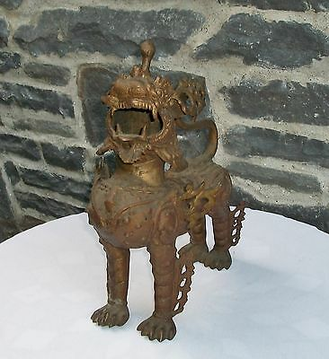 Antique Bronze Tibetan Guardian Lion, Foo Dog Statue, Amazing!
