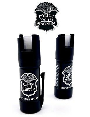 2 PACK Police Magnum pepper spray .50oz GID Bottom Clip Safety Defense Security