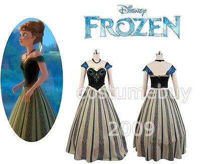 Disney Frozen Princess Anna Coronation Outfit Dress Cosplay Costume Adult Gown