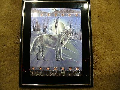 Wolf and Full Moon Picture Holographic Style