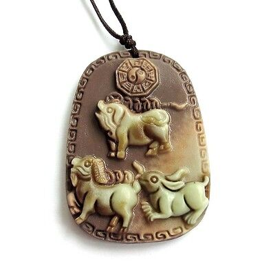 Two Layer Natural Stone Lucky Chinese Zodiac Pig Sheep Rabbit Coins Amulet Penda
