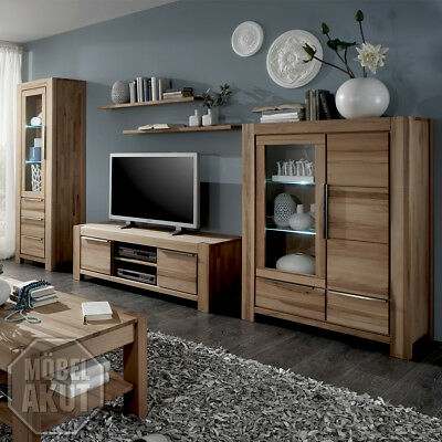 wohnwand pur anbauwand wohnzimmer in wildeiche massiv inkl led eur picclick de. Black Bedroom Furniture Sets. Home Design Ideas