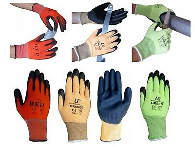 UCI Colour Coded Site Safety Work Gloves Protection Cut Resistant Level 1, 3, 5