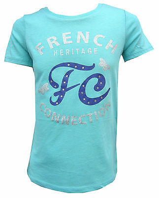 Girls French Connection T-Shirt Turquiose 100% Genuine Bargain FCUK 3Y-7Y