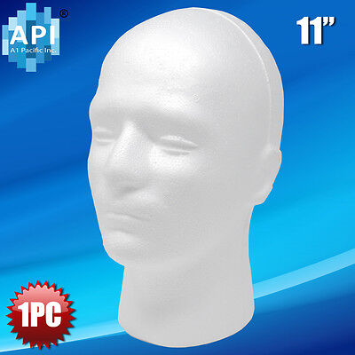 "MALE STYROFOAM FOAM MANNEQUIN MANIKIN head 11"" wig display hat glasses 1pc"