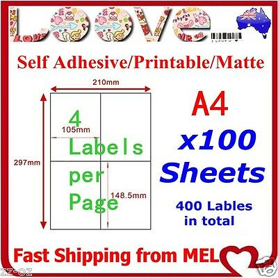 100x A4 Labels Sticker Paper Mailing Address Office Laser Inkjet 2x2 105x148.5mm