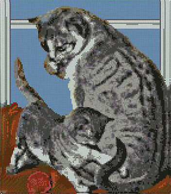 "Tabby Cat & Kitten In Window Counted Cross Stitch Kit 10"" x 11.5"" Free P&P"