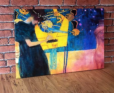 """THE MUSIC by GUSTAV KLIMT 16x12"""" Large Modern Canvas Wall Art Picture Print New"""