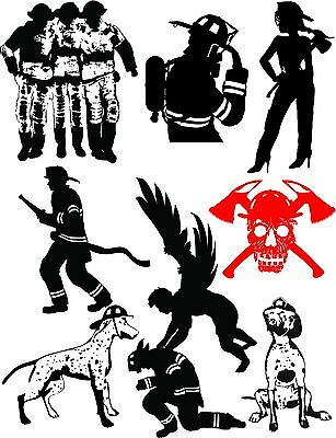 72 Fire Fighter Vector Clipart for Vinyl Cutter