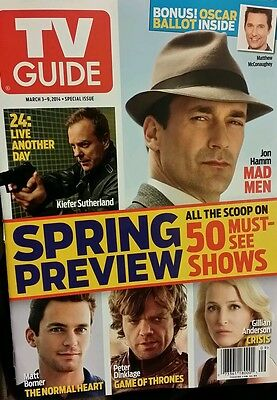 TV GUIDE 2014 SPRING PREVIEW Mad Men Game of Thrones FREE SHIPPING 24 jon hamm