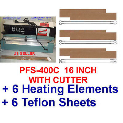 "16"" Hand Impulse Sealer with Cutter +  6 heating Elements + 6 PTFI Sheets"