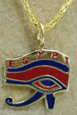 1pcs Horus Eye Pharaoh Egypt Egyptian Brass Necklace Pendant Enamel Jewelry 102
