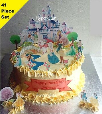 Disney Princess Castle Cup Cake Scene Wafer Edible Birthday Party Set STAND UP