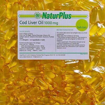 Cod Liver Oil 1000mg High Strength - 180 Capsules - NaturPlus