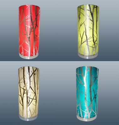 Modern Cylinder Bedside Table Lamp With Tree Branches Motifs