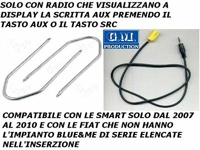 CAVO CAVETTO AUX IN MP3 iPOD iPHONE GALAXY S2 S3 FIAT GRANDE PUNTO QUBO FIORINO