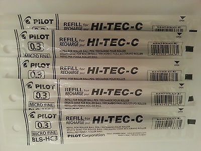 Pilot Hi-Tec-c Gel Pen Refill 0.3mm (5 black)